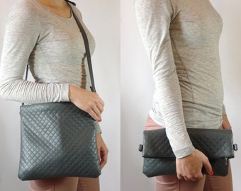 Hand quilted bag leather-look grey