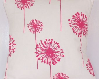 PILLOW COVER . Throw Pillow. Handmade Custom Premier Prints Fabric Accent Pillows 14 16 18 20 24 Candy Pink Dandelion