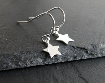 Star Earrings,Tiny Sterling silver star earrings, Sterling Silver Star Earrings, Sterling Silver Star, Dangle Earrings, Simple star earrings