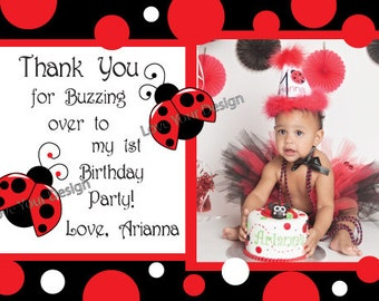 Ladybug Thank You Card with photo - YOU PRINT jpeg file Little Ladybug