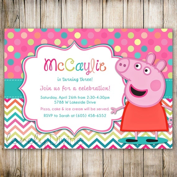 Peppa Pig Birthday Invitation for amazing invitation design