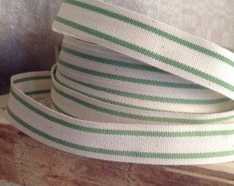 green and cream ticking stripe trim