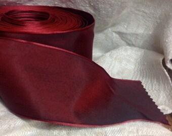 deep red burgundy taffeta french wired ribbon