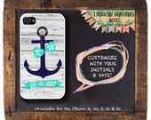 Anchor Love iPhone Case, Personalized Nautical Monogram iPhone Case, iPhone 4, 4s, iPhone 5, 5s, 5c, iPhone 6, 6s, 6 Plus, SE, Phone Case