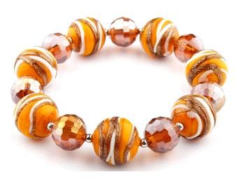 Beaded Bracelet- Murano glass, glass bracelet, murano bracelet, stretchy bracelet, glass beads, beads, orange, white, gold, stripes
