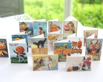 dollhouse halloween cards x 15 vintage scenes miniature 12th scale display lakeland artist