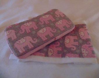 Pink Elephants Wipe Case and Burp Cloth Set