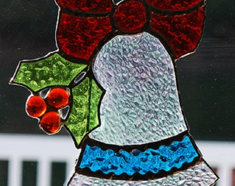 Stained glass sun catcher/ wall hanging Christmas bells with holly