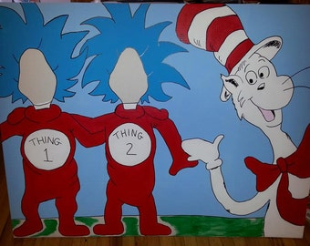Dr. Seuss Cat In The Hat Hand Drawn and Painted Photo Op Display / Cutout Board!