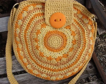 cross body bag, boho bag, crocheted in sunshine shades of yellow and celosia orange, lined, ready to ship