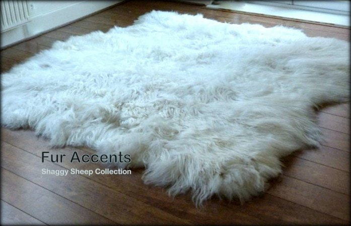 fur accents off white mongolian sheepskin area rug by