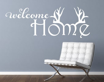 Welcome Home Wall Decal Antler Decor Hunting Decal Home Sweet Home Antlers Hunting Decor