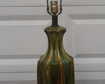 Mid Century Green Glazed Ceramic Lamp