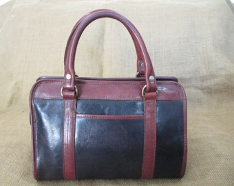 Genuine vintage  BRAHMIN black and brown satchel bag purse