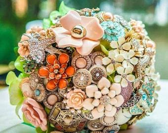 Wedding Brooch Bouquet - Heirloom Jewelry/ Crystal Bouquet - One of A Kind Custom Bridal Bouquet - Bohemian Wedding