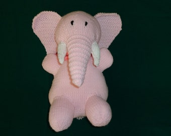Hand Knit Pink Elephant Toy