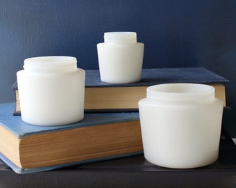 Trio of Vintage Milk Glass Ponds Jars