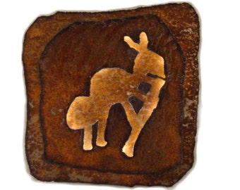 "Kokopelli lighted panel 11.5""x11.5"" - rustic sheet metal wall art with battery operated lighting on a timer"