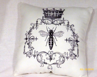 Paris pillows - Vintage French Pillows - Queen Bee Pillow -  black and White pillows - Decorative Throw Pillows - French Country Decor