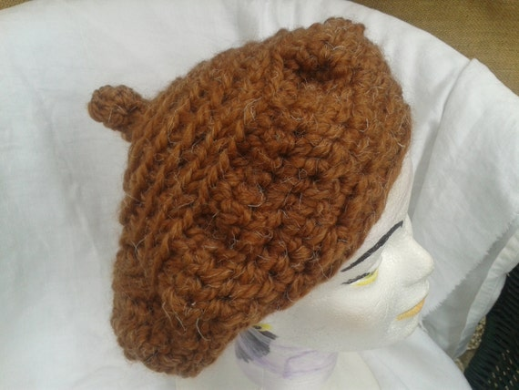 Brown French Beret  Handmade Hand Knit Hat Caramel Wool Blended Beanie Large Purls Made in France Balls Tag Medium #sophieladydeparis
