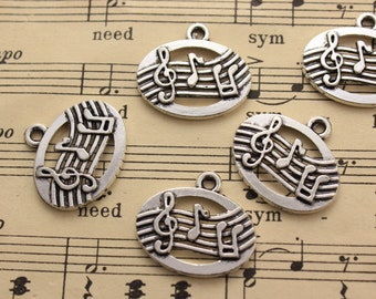 10 Music Note Charms Music Note Pendant Antiqued Silver Tone 14x 20 mm