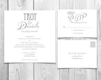DIY Classy Square Wedding Invitation Suite PDF