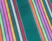 2 yards x .87 yard GREEN Mexican FABRIC with different colored stripes (cambaya)