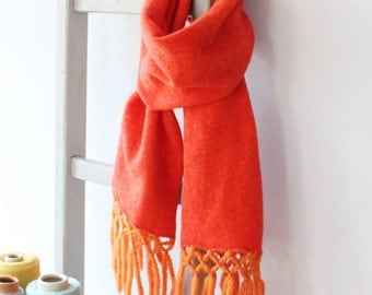 Sherbert Orange Lambswool Knitted Scarf with orange fringing- a great gift for the winter.