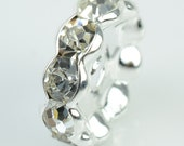 50 pcs of clear rhinestone rondelle wavy edge spacer beads 10mm