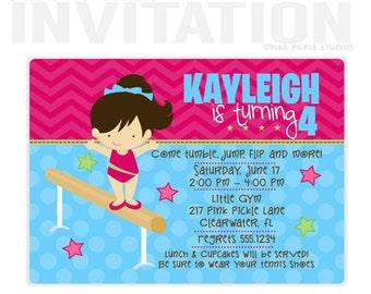 Gymnastics Invitation, Gymnastics Birthday Invitation, Gymnastics Invitations, Gymnastics Birthday Party, Gymnastics Party Invitation | 217