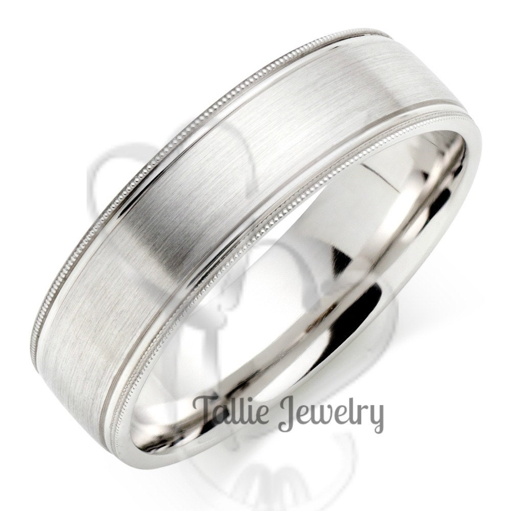 mens platinum wedding band ring 6mm wide sizes by talliejewelry