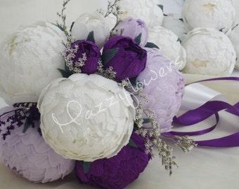 Bridal bouquet,wedding bouquet,paper flower bouquet,peonies purple,bridal flower,bouquet wedding.