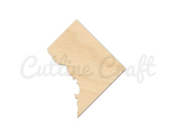 Washington DC 1348 Cutout Shapes Crafts, Gift Tags Ornaments Laser Cut Birch Wood Various Sizes, Style 284