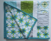 Teal, Lime and Gray baby qirl quilt ~*Reserved for Melissa*~