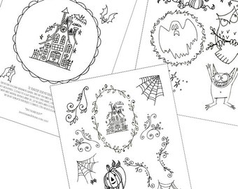 Halloween Haunted House Embroidery Patterns Printable Set of Digital Downloadable PDF Hand Embroidery Moon Stars Pumpkins Bats 0049