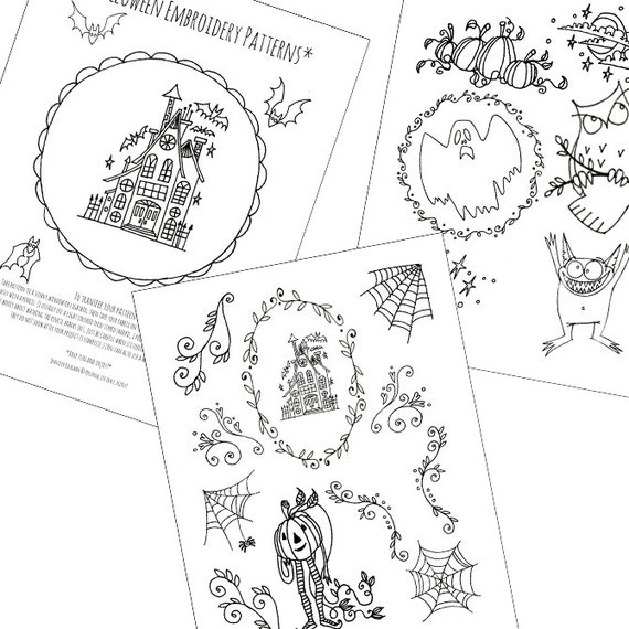halloween haunted house embroidery patterns printable set of digital downloadable pdf hand embroidery moon stars pumpkins bats 0049 - Halloween Hand Embroidery Patterns