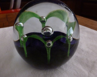 Vintage Caithness Paperweight Maydance Scotland Purple and Green in Clear Glass