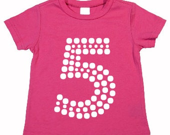 Kids Birthday Shirt with Dot Number. Choose your colors.