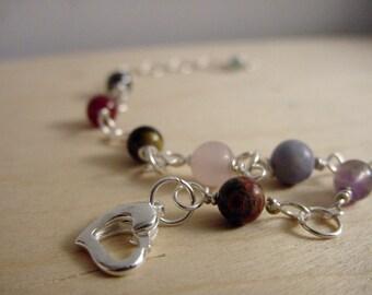 7 Chakra Bracelet Gemstones, Heart Clasp, Reiki, Chakra Jewelry, Balance, Free US Shipping, Gift Idea