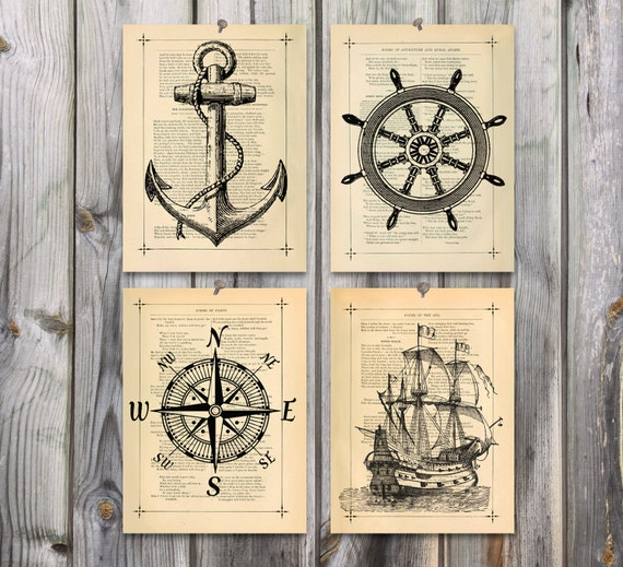 Nautical art Poster Print set Antique drawing by eebookprints Vintage Anchor Drawing