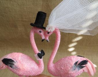 Pink Flamingo Love Bird Wedding Cake Topper, Tropical Wedding Bird Cake Topper, Beach Lovebird Wedding Topper, Island Wedding Cake Topper