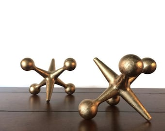 Gold Cast Iron Jacks Bookends ~ 2 Large Mid Century Modern Style Gold Office Decor ~ Jax Paperweights Doorstop or Industrial Retro Pop Art