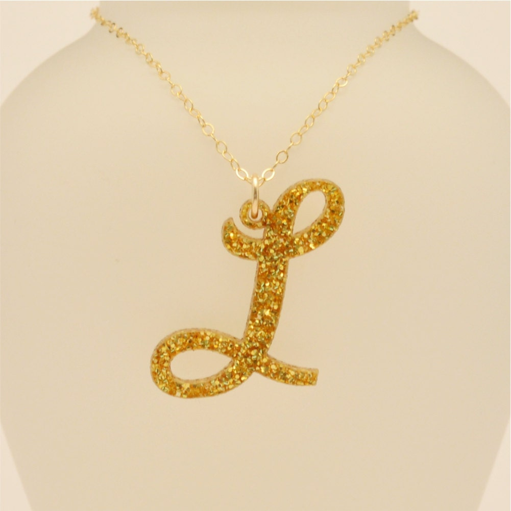 Personalized curvy style initial necklace glitter acrylic for Acrylic letter necklace