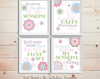 You Are My Sunshine Wall Decor purple lime green nursery decor you are my sunshine wall art