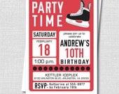 Hockey Birthday Invitation - Ice Hockey Winter Party - Teen Boy Birthday Party - Digital Design or Printed Invitations - FREE SHIPPING