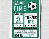 Custom Soccer Birthday Invitation - Soccer Themed Party - Boy Birthday - Digital Design or Printed Invitations - FREE SHIPPING