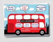 London Themed Birthday Invitation - British Birthday Party - Digital Design or Printed Invitations - FREE SHIPPING