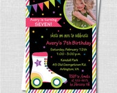 Roller Skate Birthday Photo Invitation - Roller Skating Themed Party - Digital Design and Printed Invitations - FREE SHIPPING