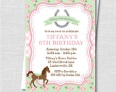 Green and Pink Shabby Chic Horse Birthday Party Invitation - Horseback Riding Party - Digital Design or Printed Invitations - FREE SHIPPING