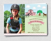 Charming Horse Birthday Photo Invitation - Horseback Riding or Farm Themed Party - Digital Design or Printed Invitations - FREE SHIPPING
